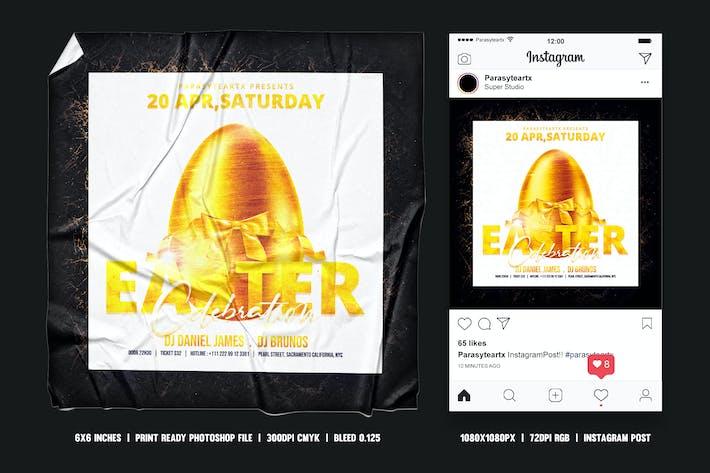 Thumbnail for Пасхальный квадратный Флаер и пост Instagram