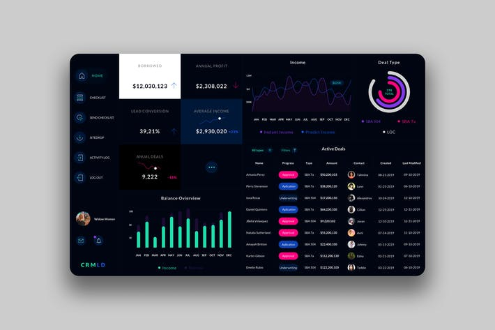 Thumbnail for Leader CRM Dashboard UI - V2