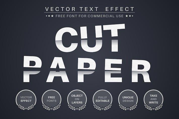 Вырезать бумагу - редактируемый текстовый эффект, стиль шрифта