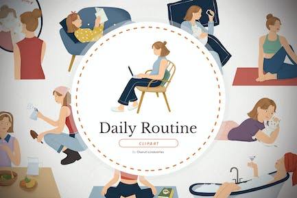 Girl daily routine - handdrawn elements