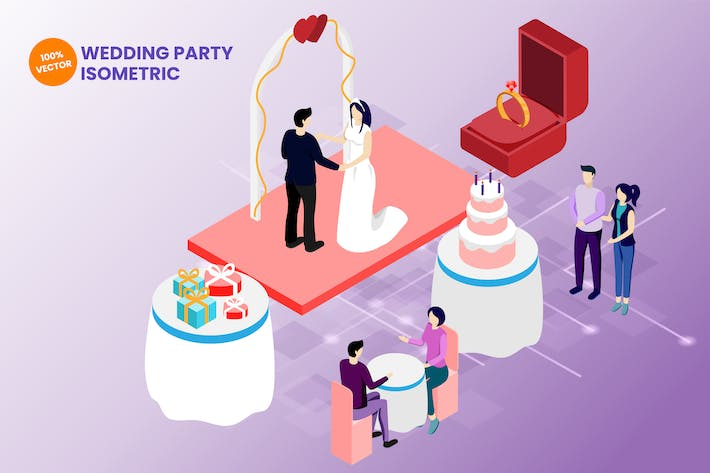 Thumbnail for Isometric Wedding Party Vector Illustration