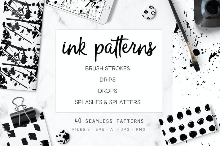 Thumbnail for Ink Patterns - 40 Seamless Vectors