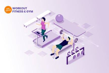 Isometric Workout On Gym & Fitness Vector