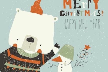 Funny cartoon bear waving paw. Merry Christmas.