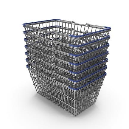 Stapel von Supermarkt-Körben mit blauem Kunststoff