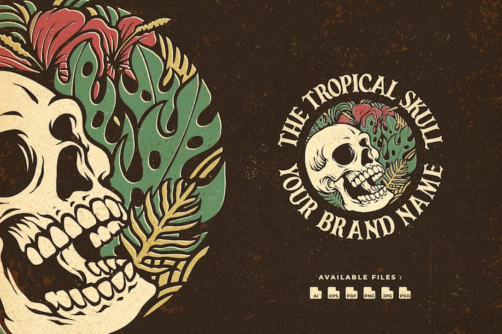 Thumbnail for Tropical Skull Handrawn Logo