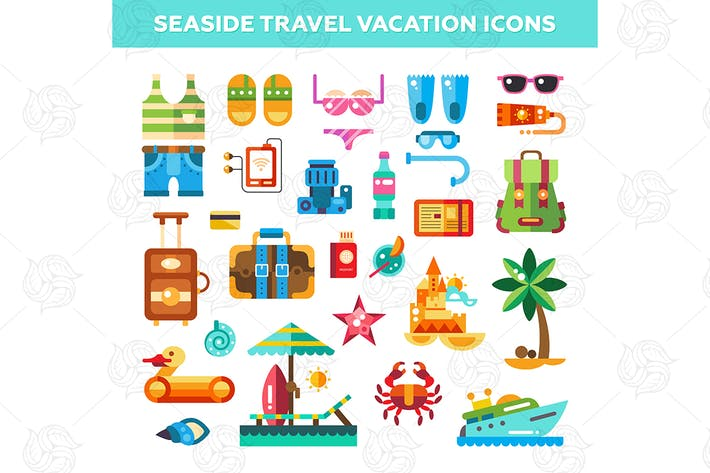 Thumbnail for Seaside Travel Vacation Icons Set