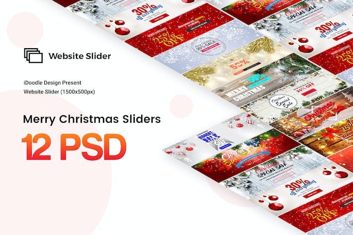 Cover Image For Merry Christmas Sliders Website - 12PSD