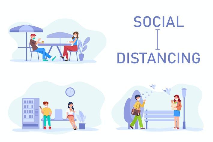 Thumbnail for Soziale Distanzierung von Hand gezeichnet