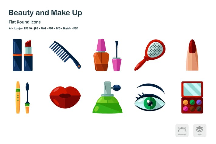 Thumbnail for Beauty and Make Up Flat Icons