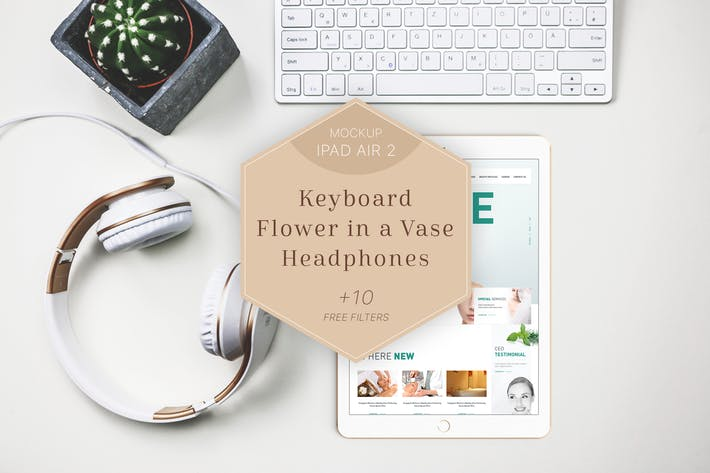 Thumbnail for iPad Air 2 Mockup Headphones/Flower