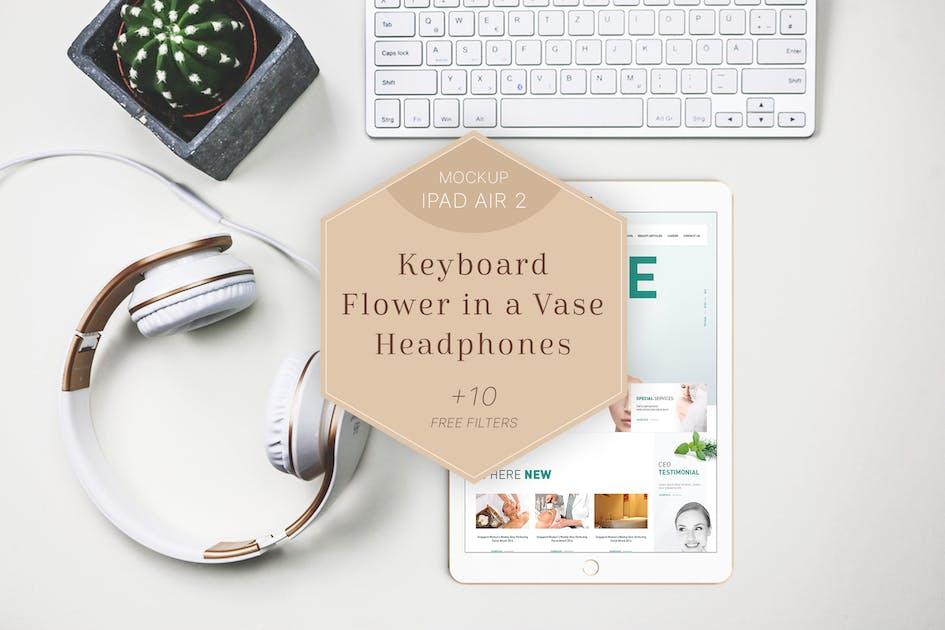 Download iPad Air 2 Mockup Headphones/Flower by Anthonyrich