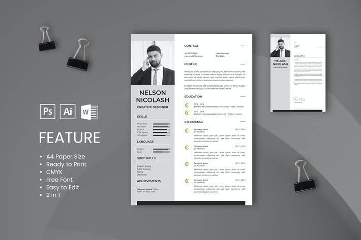 Thumbnail For Professional CV And Resume Template Nicolash