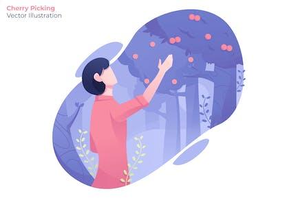 Cherry Picking - Vector Illustration