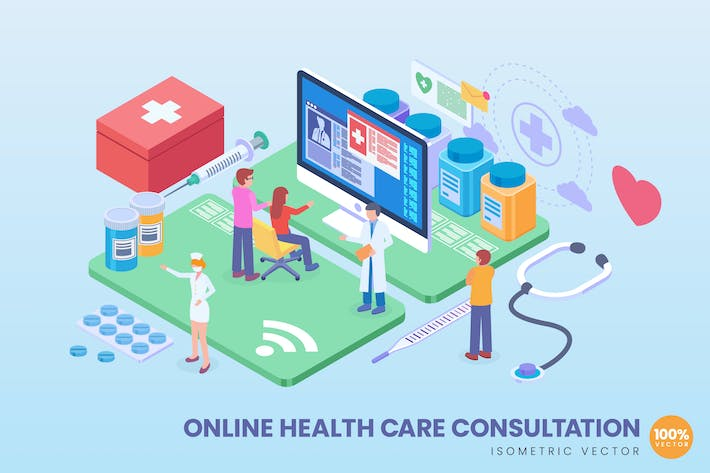 Cover Image For Isometric Online Healthcare Consultation Vector