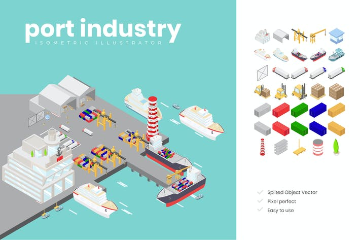 Thumbnail for Port Industry Isometric Illustration