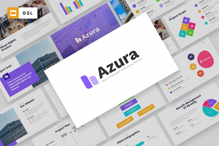 Thumbnail for AZURA - Project Management Google Slides Template