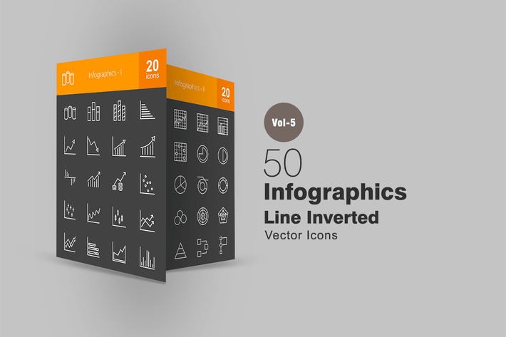Thumbnail for 40 Infografiken Linie invertierte Icons