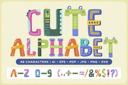 Nettes Alphabet-Vektor-Pack