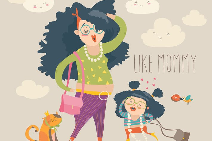 Thumbnail for Stylish mother with her daughter. Vector cartoon