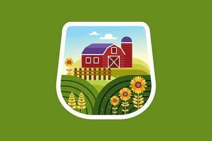 Farm house and sunflower field