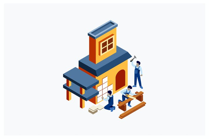 Thumbnail for Isometric Build a House Vector Illustration