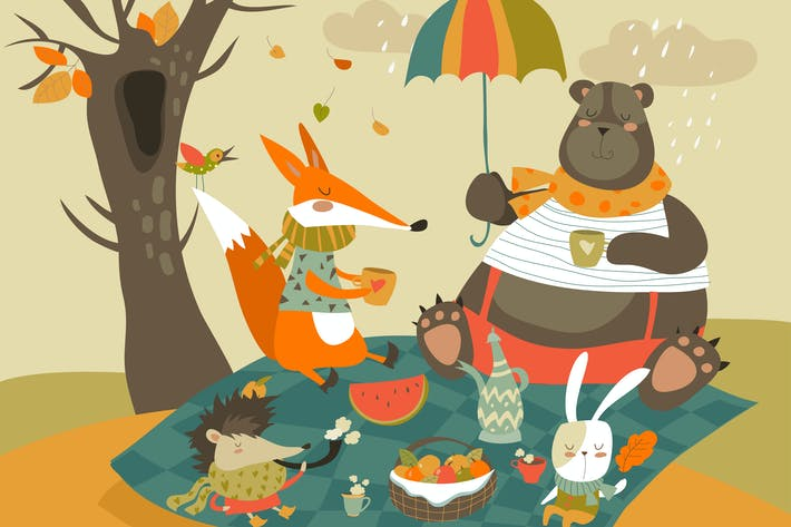 Thumbnail for Animals at picnic in autumnal forest. Vector