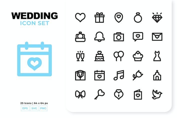 Hochzeits-Icon-Set