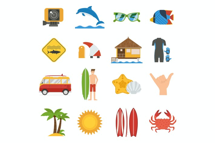 Thumbnail for Summer Surfing Icon Set