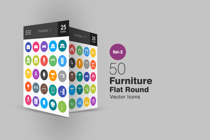 Thumbnail for 50 Furniture Flat Round Icons