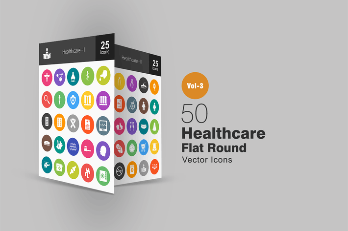 Thumbnail for 50 Healthcare Flat Round Icons