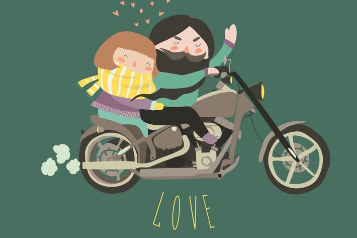 Thumbnail for Happy couple in love riding a motorcycle
