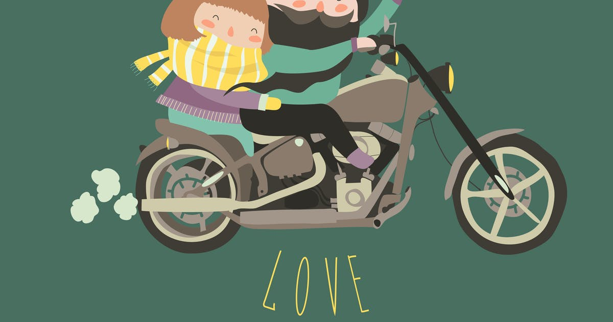 Download Happy couple in love riding a motorcycle by masastarus