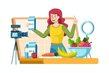 Vlogger recording video content on healthy food