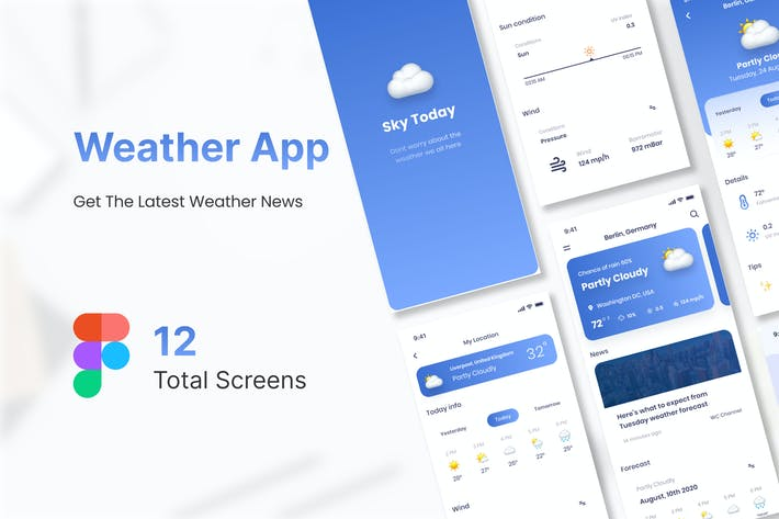 Thumbnail for Sky Today - Weather Mobile App UI Kit Figma