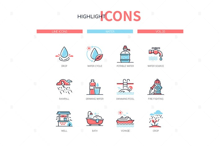 Thumbnail for Water conditions - line design style icons set