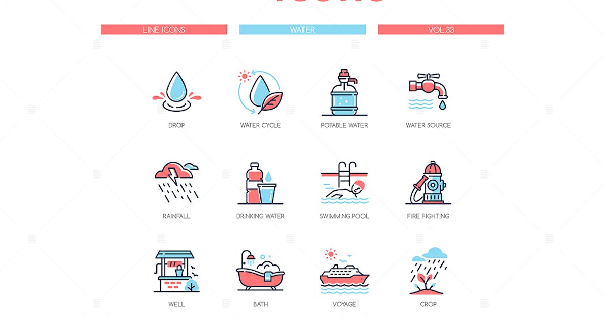 Download Water conditions - line design style icons set by BoykoPictures