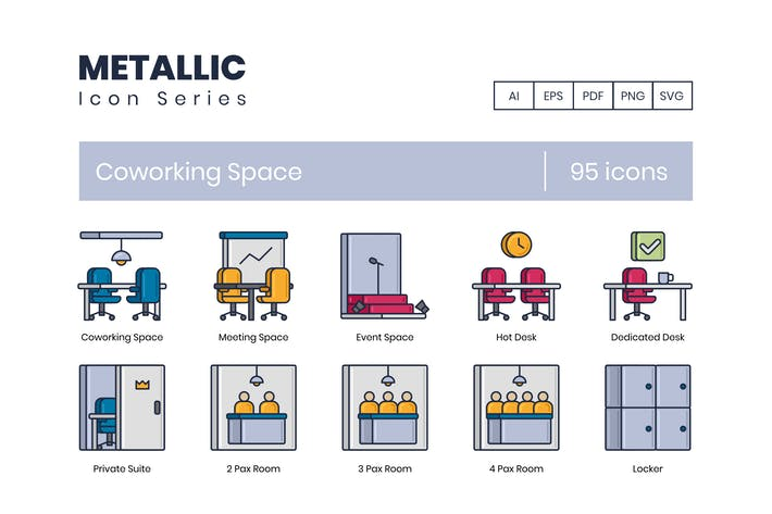 Thumbnail for 95 Coworking Space Icons | Metallic Series