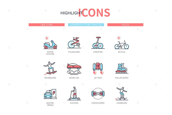 Thumbnail for Modern, future vehicles - line design style icons
