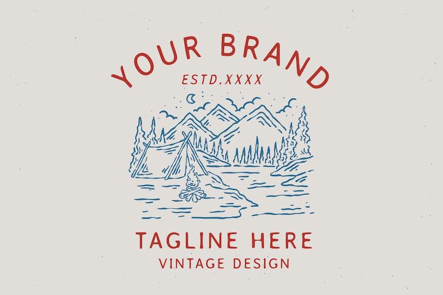 vintage outdoor camping badge design
