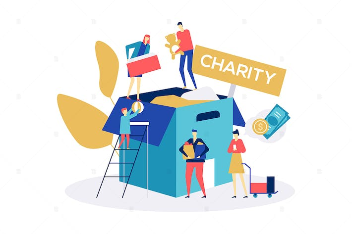 Thumbnail for Charity concept - flat design style illustration