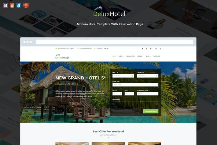 Thumbnail for DeluxHotel - Responsive Bootstrap 4 Template For H