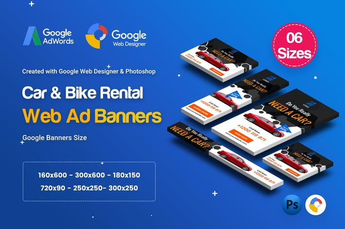 Thumbnail for C36 - Car & Bike Rental Banners HTML5 - GWD & PSD