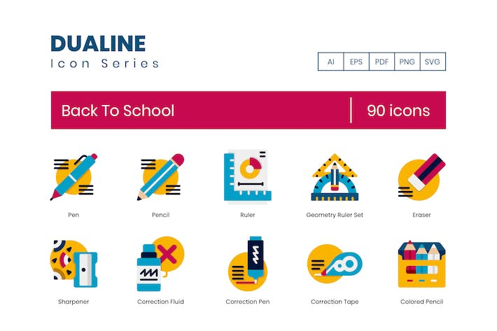 90 Back To School Icons - Dualine Flat Series