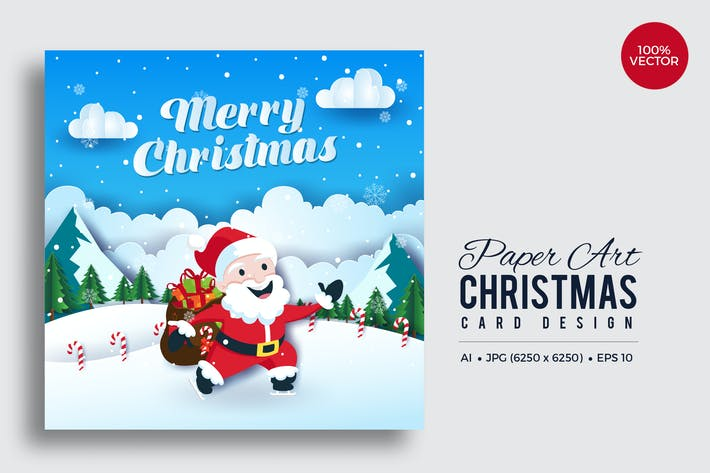 Thumbnail for Merry Christmas Square Vector Card Vol.9