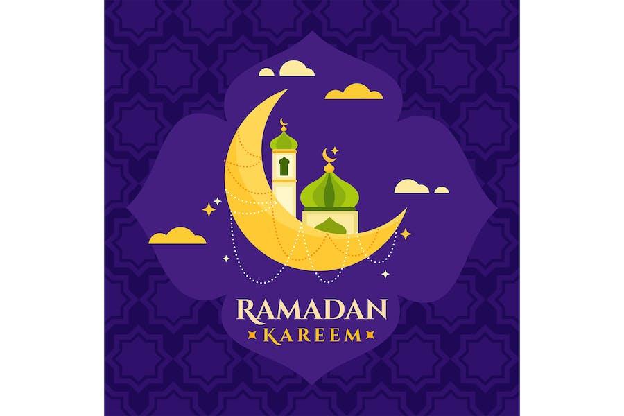 Flat Ramadan Kareem Moon 02