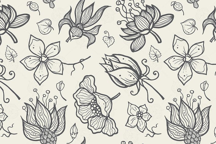 Cover Image For Illustration of seamless hand-drawn floral pattern