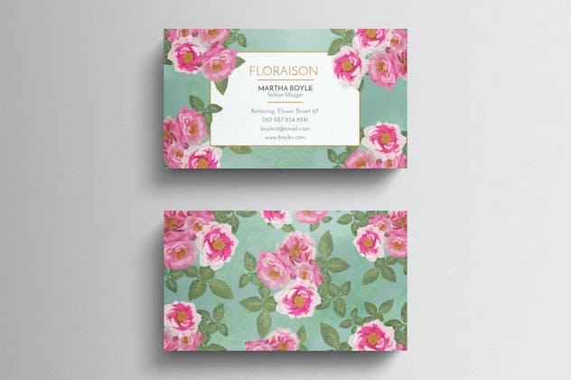 Vintage floral business card