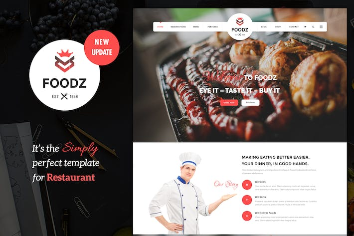 Thumbnail for Foodz - Restaurant, Spa & Salon Joomla Modèle