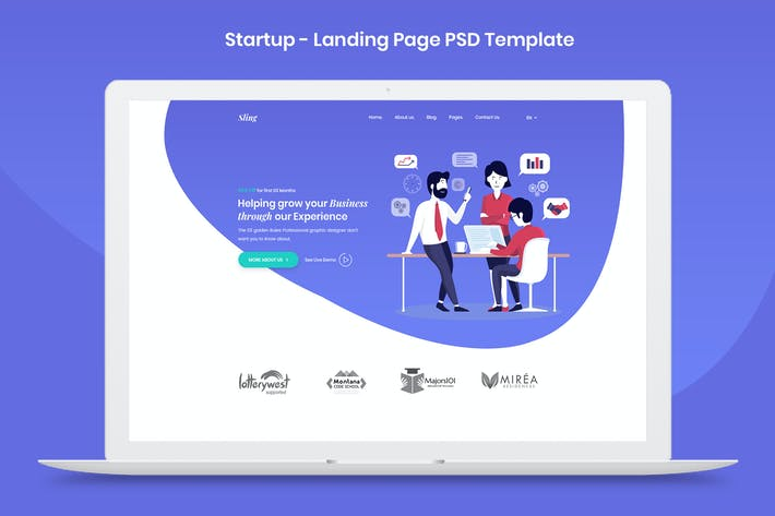 Thumbnail for Startup Landing Page PSD Template